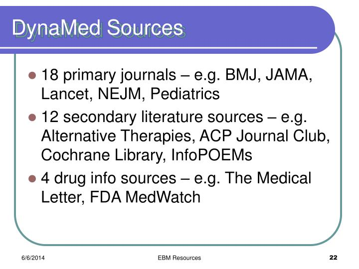 DynaMed Sources