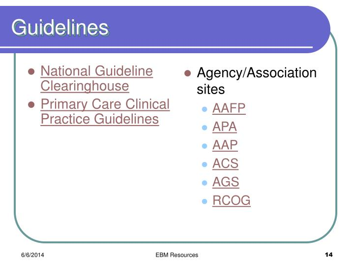 National Guideline Clearinghouse