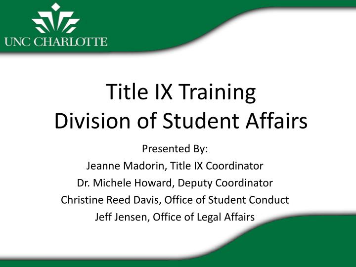 title ix training division of student affairs n.