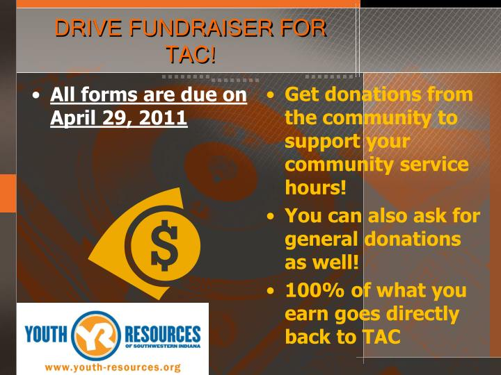 DRIVE FUNDRAISER FOR TAC!