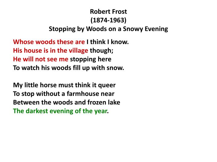 essay stopping by woods Stopping by woods on a snowy evening by robert frost whose woods these are i think i know his house is in the village though he will not see me stopping here to watch his woods fill up with snow.