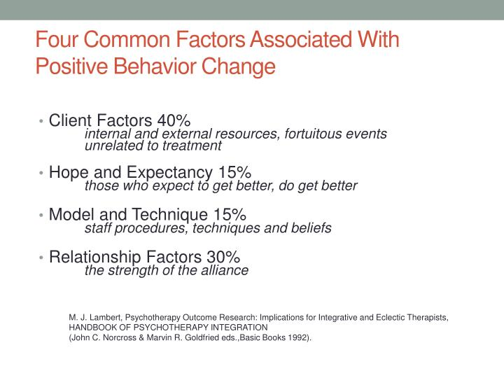 Four Common Factors Associated With Positive Behavior Change