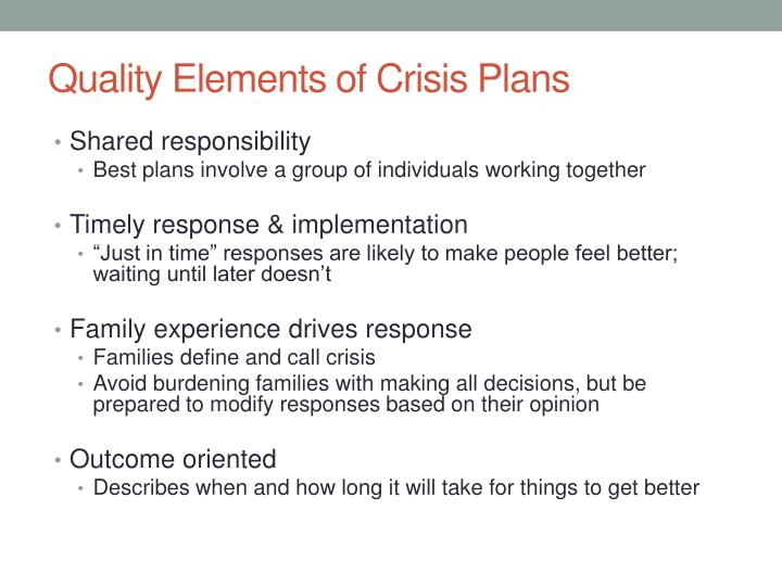 Quality Elements of Crisis Plans