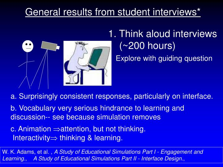 General results from student interviews*