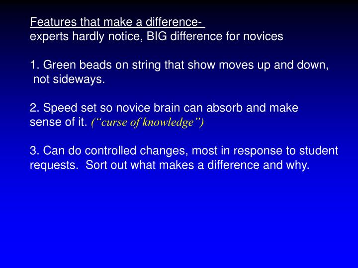 Features that make a difference-