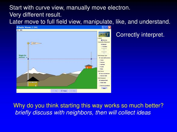 Start with curve view, manually move electron.
