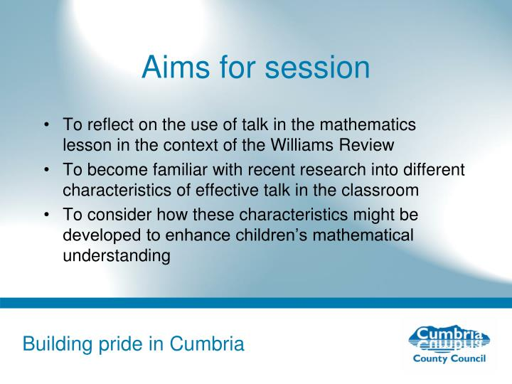 Aims for session
