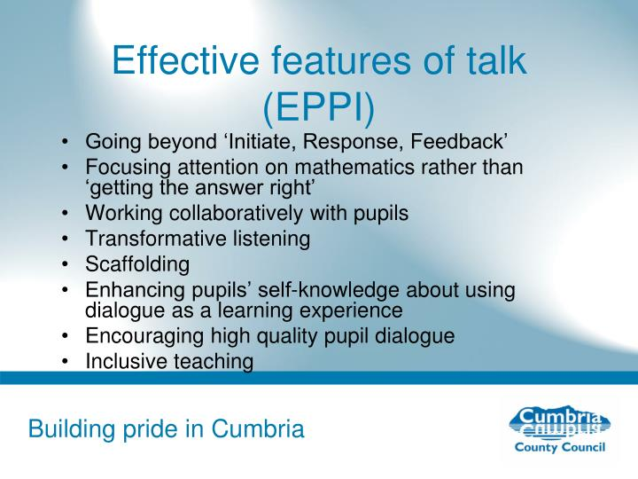 Effective features of talk (EPPI)