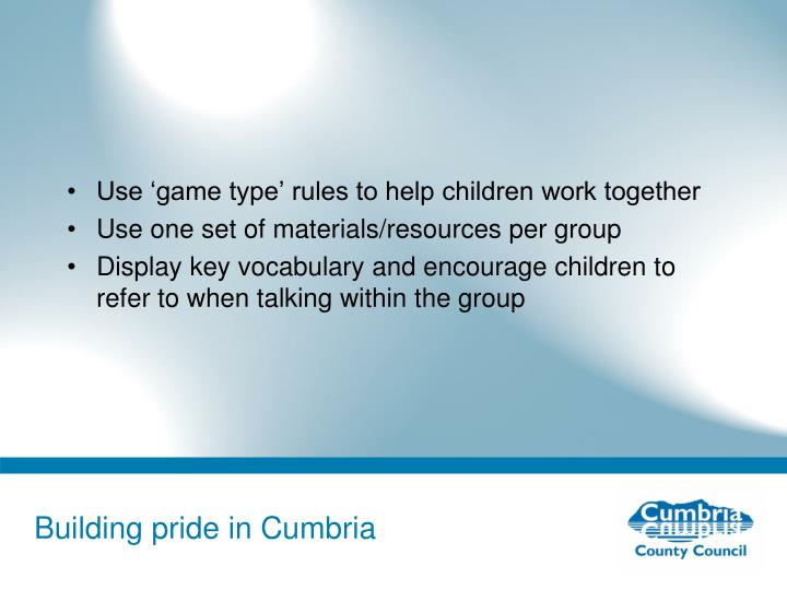 Use 'game type' rules to help children work together