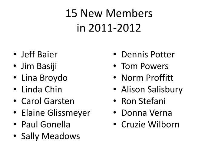 15 new members in 2011 2012