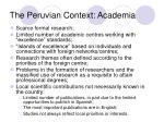 the peruvian context academia