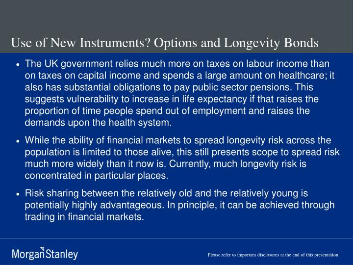 Use of New Instruments? Options and Longevity Bonds