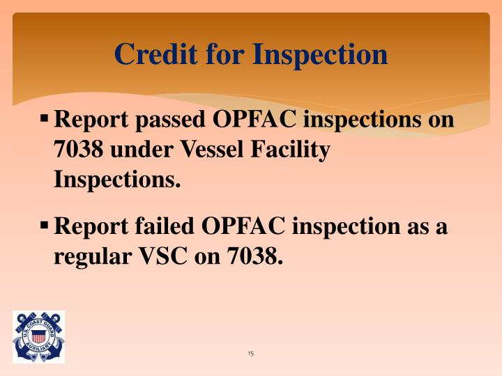 Credit for Inspection