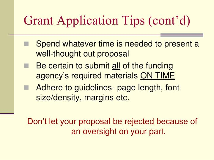 Grant Application Tips (cont'd)