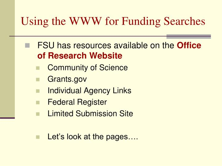 Using the WWW for Funding Searches