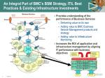 an integral part of bmc s bsm strategy itil best practices existing infrastructure investments