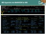 ims hyperlink into mainview for ims
