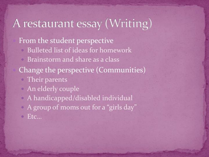 essay about restaurants Fast food is the most familiar restaurant to most people chains like mcdonald's and burger king became popular in the 1950s and helped spawn countless others, like taco bell, kfc, and in&out burger, due to its speed and convenience.