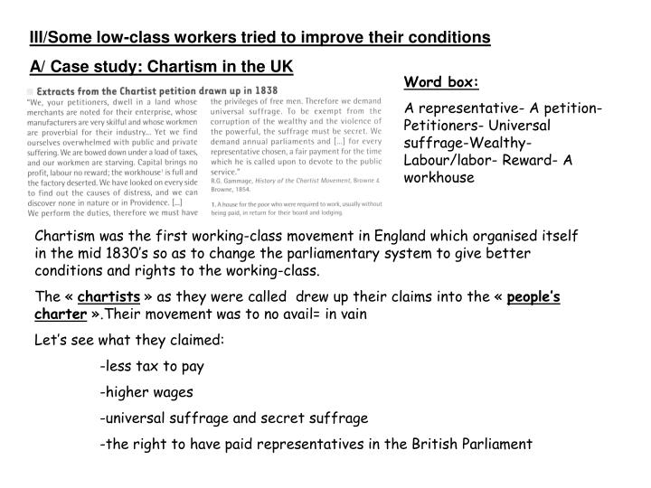 III/Some low-class workers tried to improve their conditions
