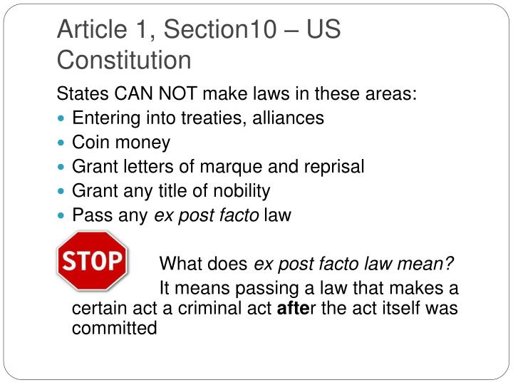 Article 1, Section10 – US Constitution