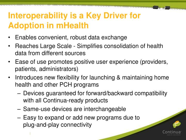 Interoperability is a Key Driver for Adoption in mHealth