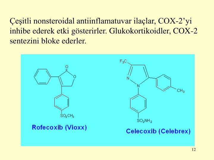 Çeşitli nonsteroidal antiinflamatuvar ilaçlar, COX-2'yi inhibe ederek etki gösterirler. Glukokortikoidler, COX-2 sentezini bloke ederler.