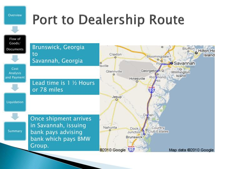 Port to Dealership Route
