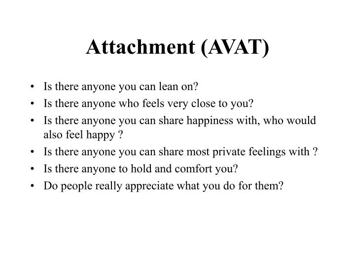 Attachment (AVAT)