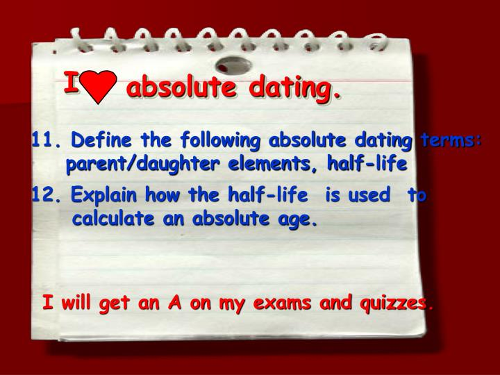 What do absolute dating means