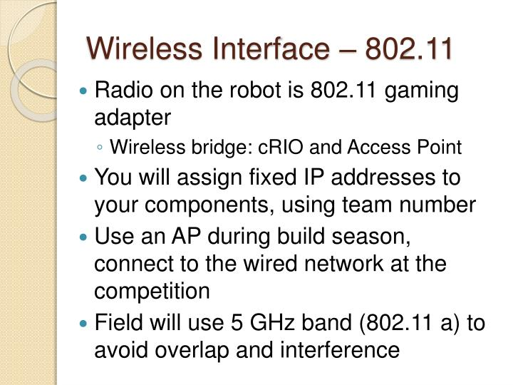 Wireless Interface – 802.11