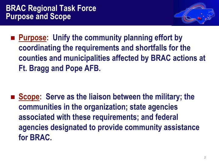 Brac regional task force purpose and scope