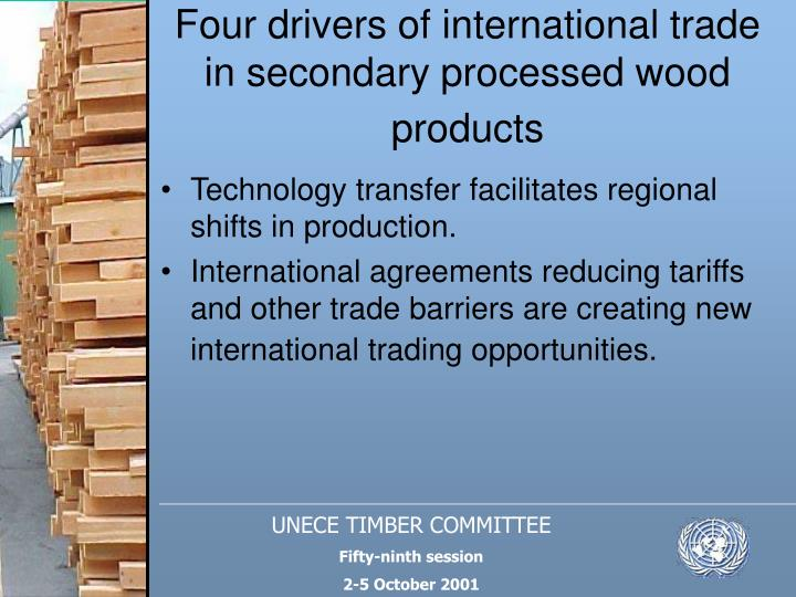 Four drivers of international trade in secondary processed wood products