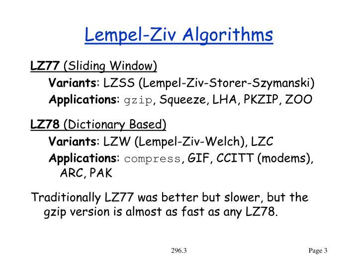 Lempel ziv algorithms