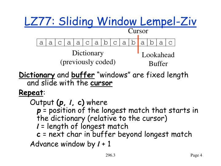 LZ77: Sliding Window Lempel-Ziv