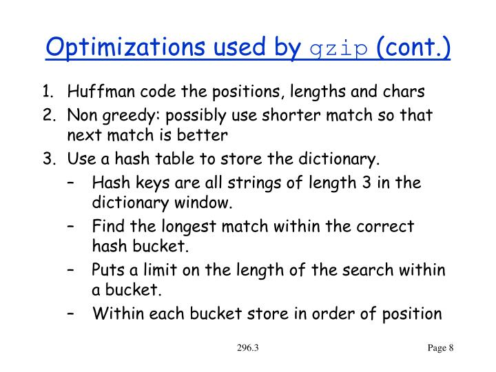 Optimizations used by
