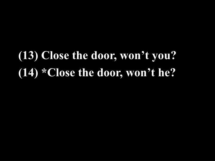 (13) Close the door, won't you?