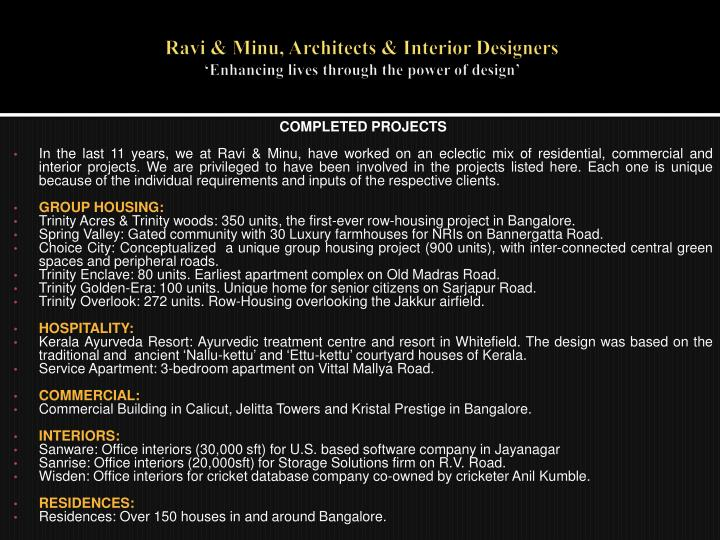 Ravi minu architects interior designers enhancing lives through the power of design