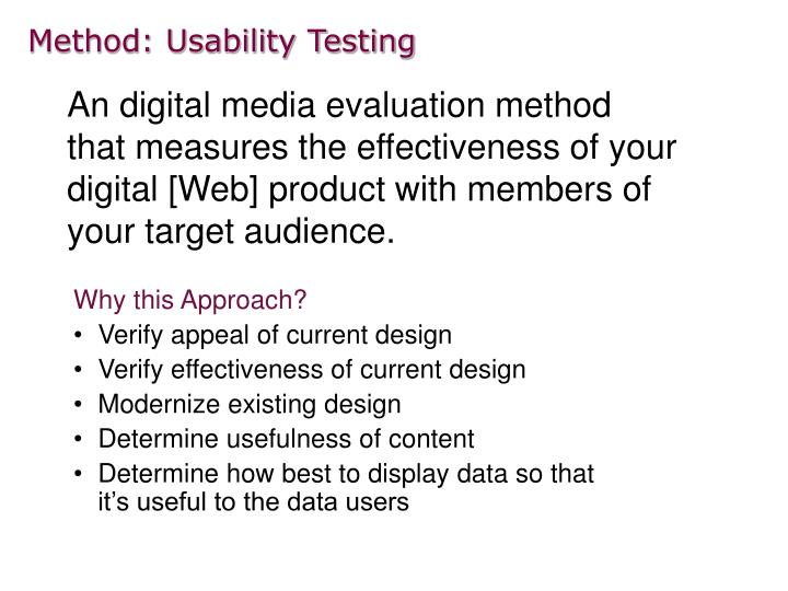 Method usability testing