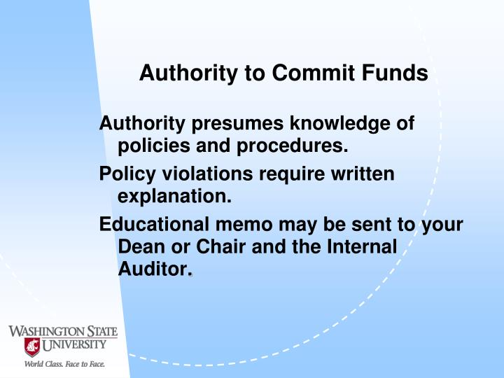 Authority to Commit Funds