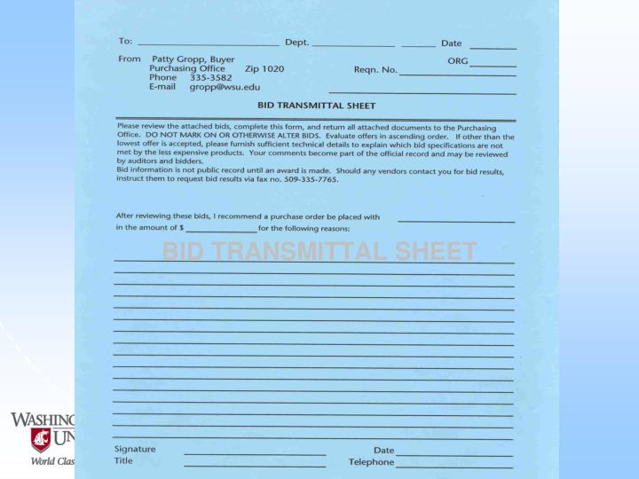 BID TRANSMITTAL SHEET