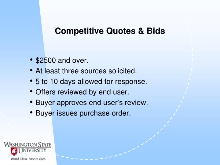 Competitive Quotes & Bids