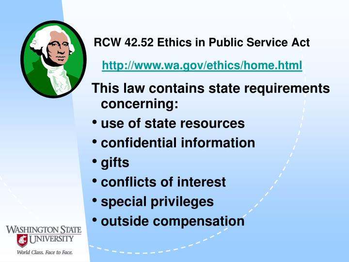 RCW 42.52 Ethics in Public Service Act