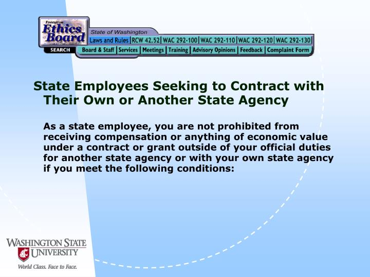 State Employees Seeking to Contract with Their Own or Another State Agency