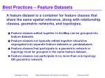 best practices feature datasets