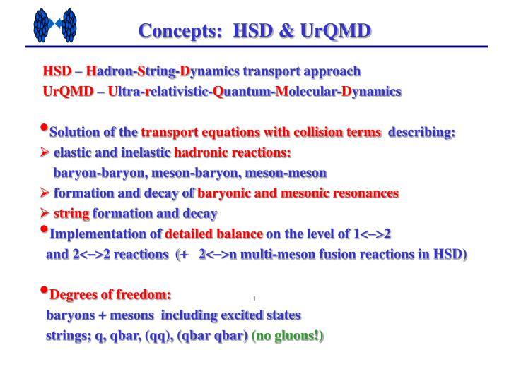 Concepts:  HSD & UrQMD