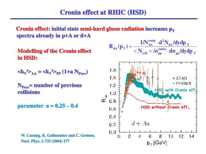 Cronin effect at RHIC (HSD)