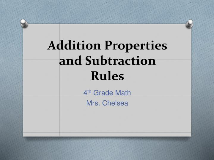 addition properties and subtraction rules n.