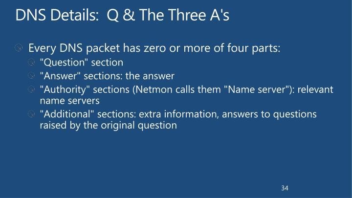 DNS Details:  Q & The Three A's