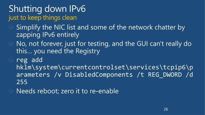 Shutting down IPv6