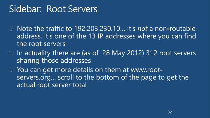 Sidebar:  Root Servers